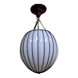 Dark Bronze Glass Opal White Shade Egg Suspension Lantern by McEwen Lighting Studio