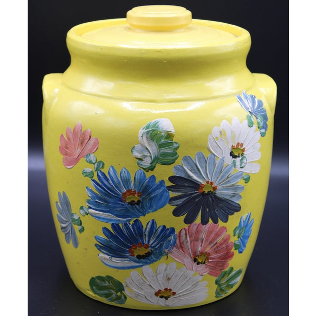 Vintage Yellow Hand Painted Floral Pottery Jar For Sale In Tulsa - Image 6 of 13