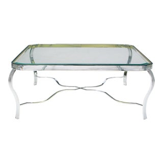 DIA Chrome & Brass Coffee Table For Sale