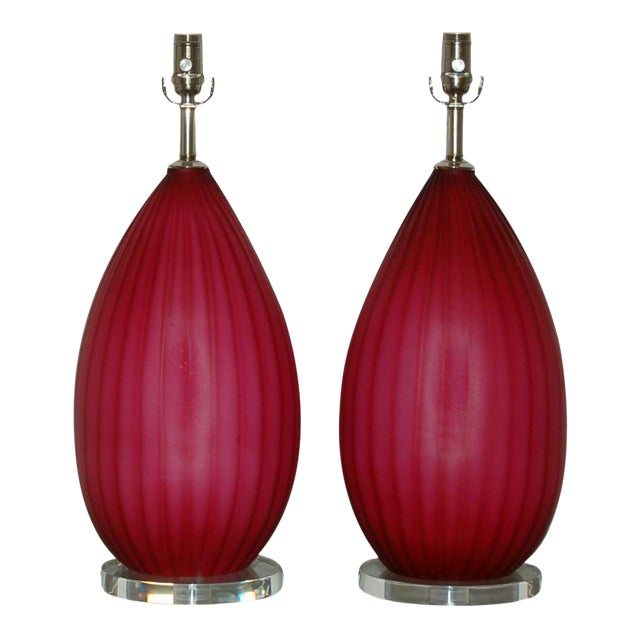 Vintage Murano Glass Table Lamps Pink- A Pair For Sale