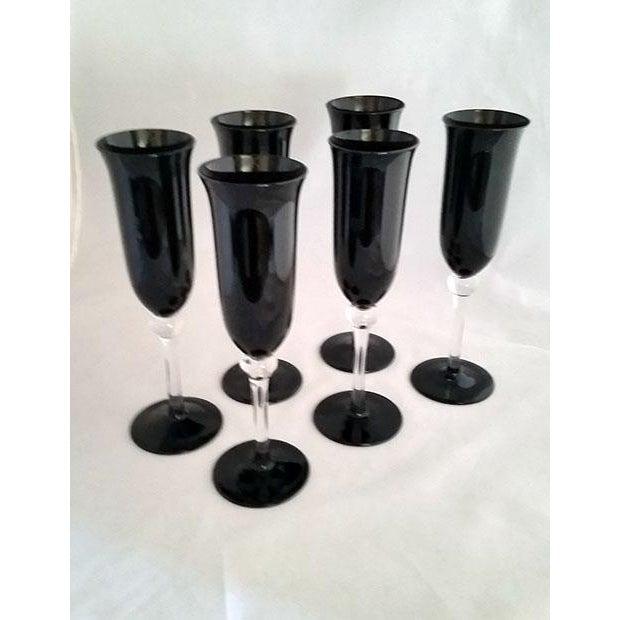Black Crystal Champagne Flutes - Set of 6 For Sale - Image 5 of 6