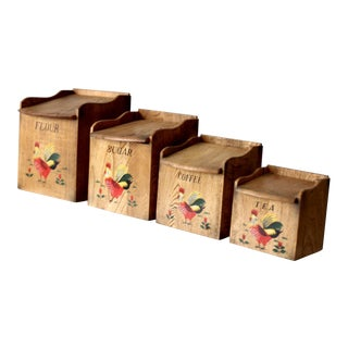 Mid-Century Kitchen Rooster Canisters - Set of 4