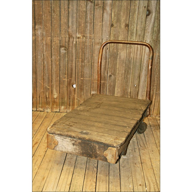 Vintage Industrial Rolling Wood Hand Cart - Image 5 of 11