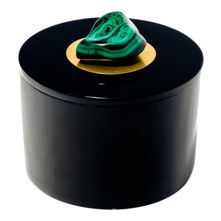Black Round Lacquer Box With Malachite