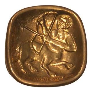 Vintage Mid Century Brass Astrological Sagittarius.Tray For Sale