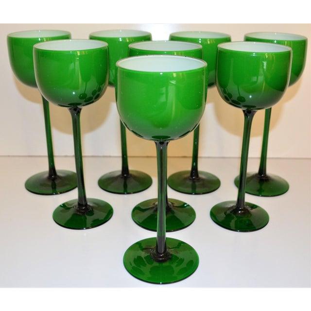 1960s Carlo Moretti White Cased Melon Green Stemware - Set of 8 For Sale - Image 5 of 8