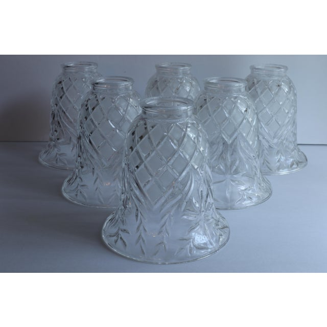White Vintage Cut Glass Light Shade Covers - Set of 6 For Sale - Image 8 of 13