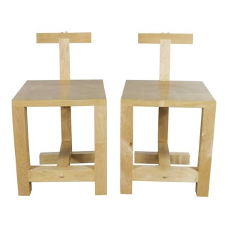 Pair Post-Modern Hand-Crafted Maple Chairs Signed Brice B. Durbin 1996 For Sale