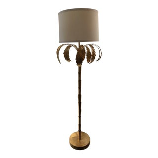 Regency Style Gold Palm Floor Lamp For Sale