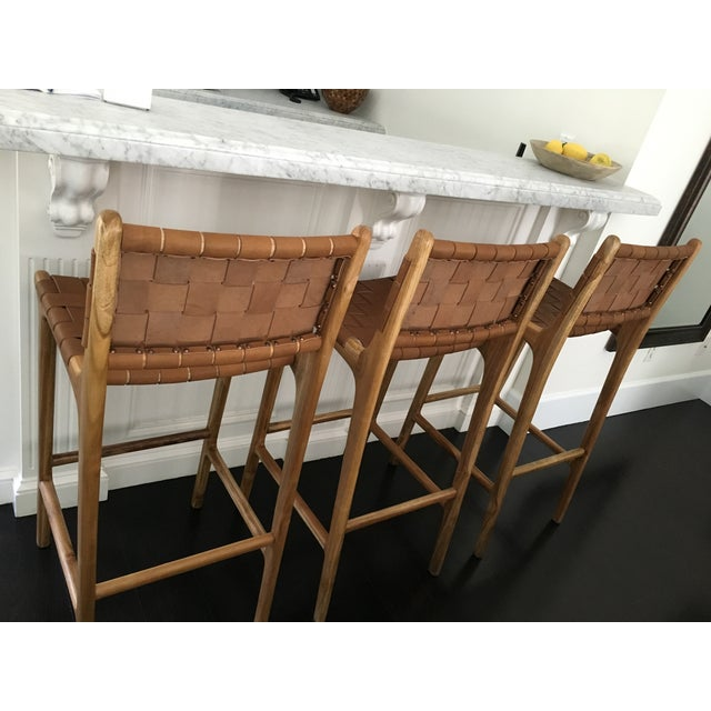 Saffron Amp Poe Woven Leather Strap Counter Stool Chairish