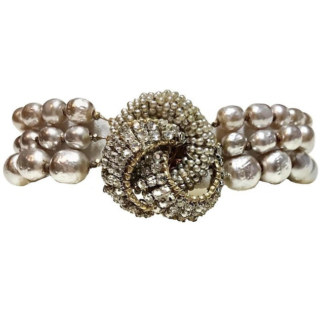 Miriam Haskell Baroque Faux-Pearl and Rhinestone Bracelet For Sale In Los Angeles - Image 6 of 6
