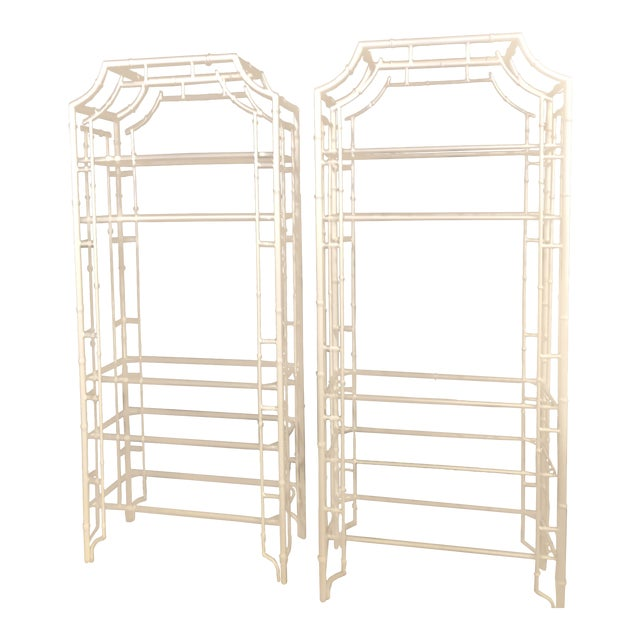 Vintage Chinese Chippendale White Powder-Coated Faux Bamboo Pagoda Etageres - A Pair For Sale