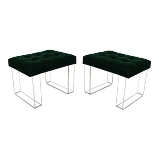 Infinity Style Green Velvet & Lucite Benches - A Pair For Sale