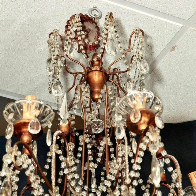 Classic Eight Light Italian Crystal Chandelier With Gilt Wood Bobeches - Image 6 of 6