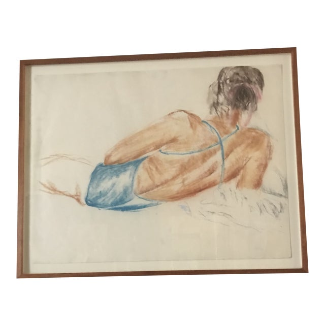 Vintage Drawing of a Reclining Woman For Sale