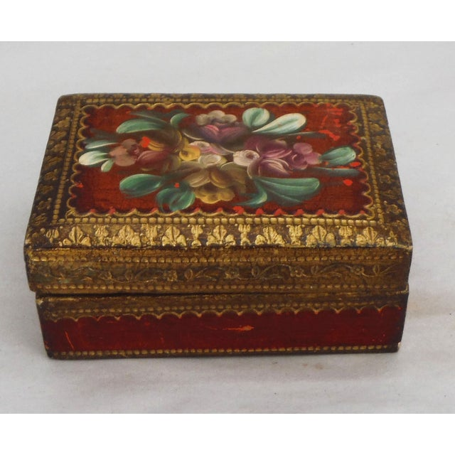 Florentine Red & Gilded Wood Box - Image 2 of 5