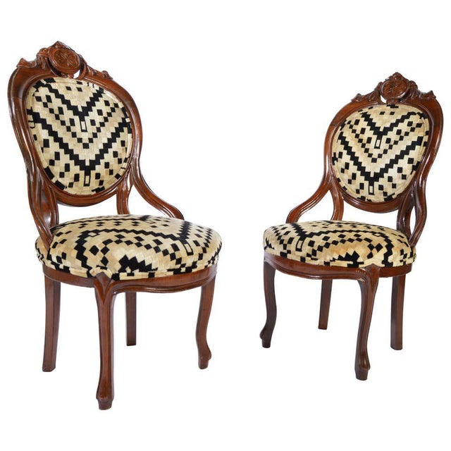 Beige Victorian Parlor Chairs Having Carved Mahogany Frames With Art Deco Upholstery For Sale - Image 8 of 8