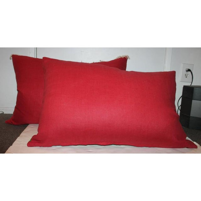 Pair of Monumental Serape Bolster Pillows For Sale - Image 9 of 9