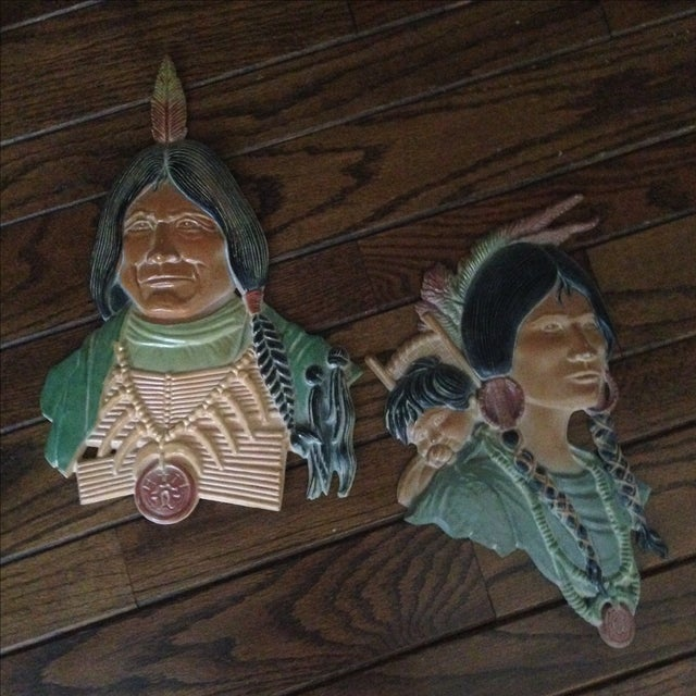 Vintage Metal Native American Wall Plaques - Pair - Image 3 of 11