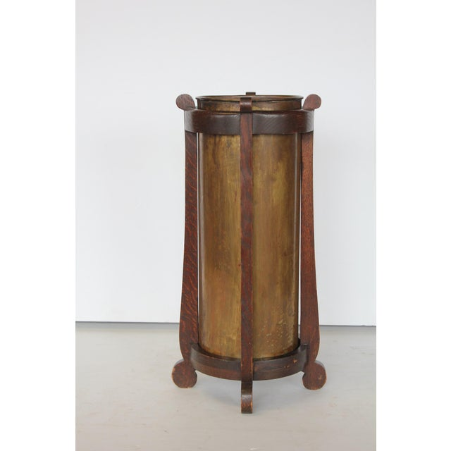 Mission Oak and Brass Umbrella Stand by the Lakeside Craft Shops For Sale In Chicago - Image 6 of 6