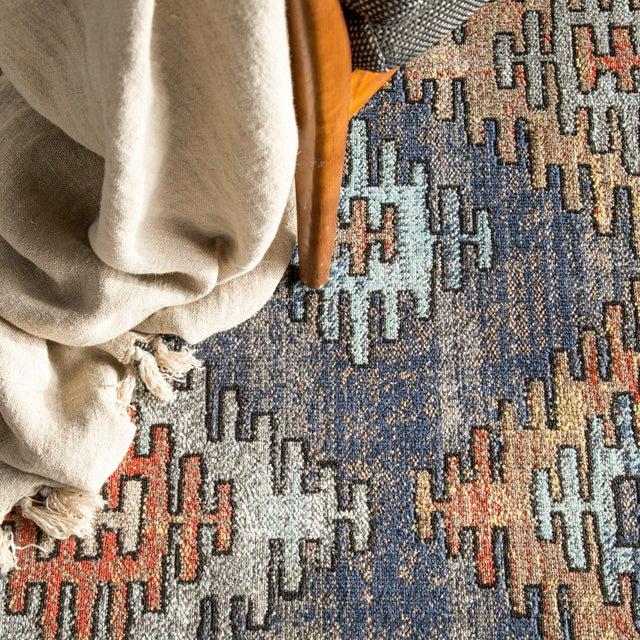 """Blue Jaipur Living Dez Indoor Outdoor Tribal Blue Orange Runner Rug 2'6""""X8' For Sale - Image 8 of 9"""