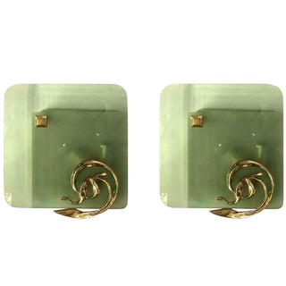 Brass & Glass Mid Century Modern Sconces, Fontana Arte Style - a pair For Sale