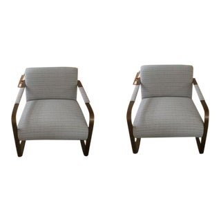 Modernist Upholstered Brass Chairs - A Pair