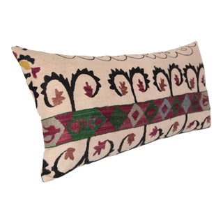 1980s Vintage Lumbar Suzani Pillow Cover -28''x14'' Inches For Sale