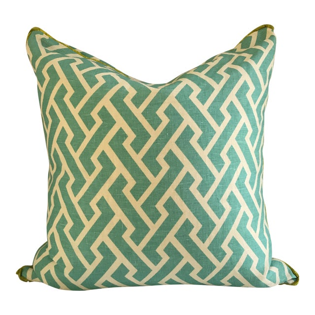 Quadrille China Seas Aga Aqua Pillow For Sale