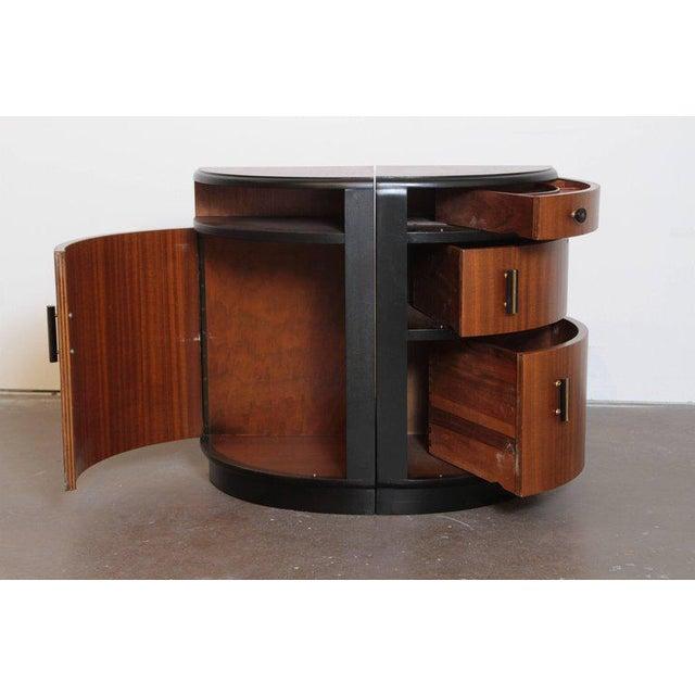 Art Deco Pair of Art Deco Half Demilune Ribbon Mahogany Corner Occasional Tables For Sale - Image 3 of 11