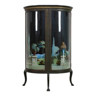 Vintage Black Neoclassical Motif Curved Glass Cabinet For Sale