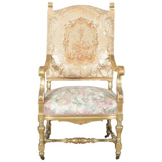 20th Century Antique French Louis XIV Giltwood and Tapestry Throne Chair For Sale