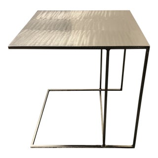 Rodolfo Dordoni for Minotti Leger Brushed Plate Metal Side Table For Sale