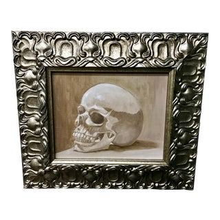 1970s Vintage Original Framed Skull Oil Painting For Sale