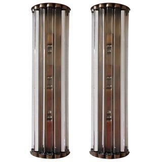 Cristallo Sconces / Flush Mounts on Bronze Frame by Fabio Ltd. - a Pair For Sale
