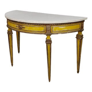 18th Century Italian Demilune Marble Top Painted Console Table For Sale
