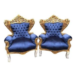 Pair of Blue Rococo Style Throne Chairs For Sale