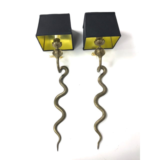 Metal Vintage Exotic Brass Cobra Snake Wall Sconces - a Pair For Sale - Image 7 of 7