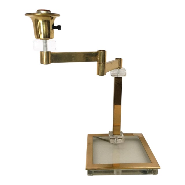 Vintage Italian Lucite and Brass Swing Arm Lamp - Image 1 of 5
