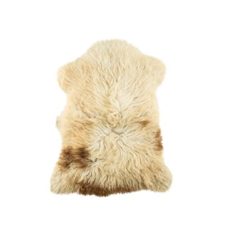 "Long Wool Sheepskin Pelt, Handmade Rug 2'1""x3'0"" For Sale"