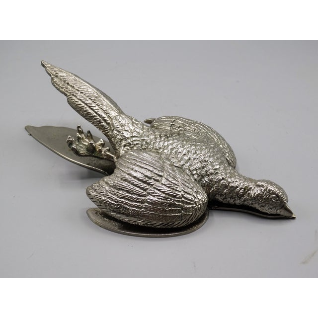French Silver-Plate Pheasant Note Clip For Sale - Image 4 of 8