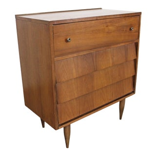 Mid-Century Danish Modern Louvre Front Tall Chest/Dresser For Sale