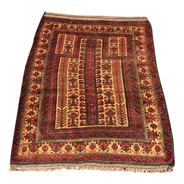 "Vintage Persian Baluchi Prayer Rug - 3'x4'3"""