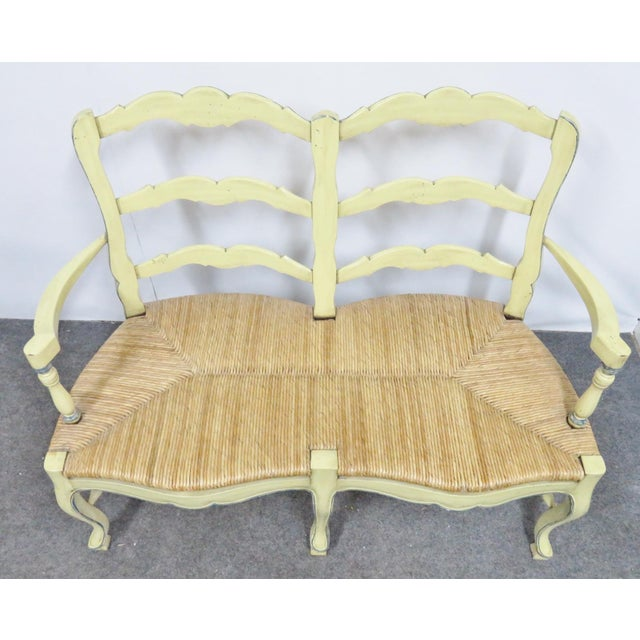 Country French Yellow Painted Rush Seat Settee For Sale In Philadelphia - Image 6 of 7
