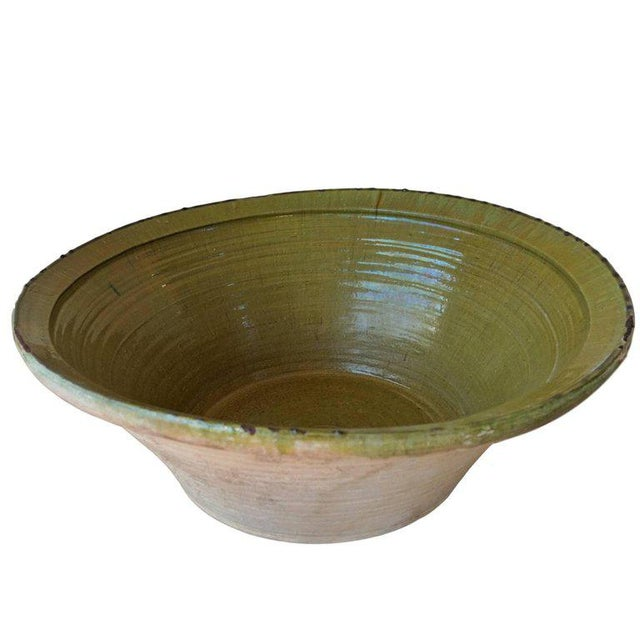 Green 19th Century Spanish Hand Thrown and Glazed Green Stoneware Pottery Bowl For Sale - Image 8 of 8