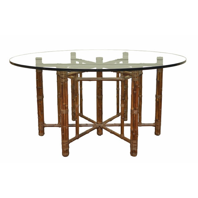 1970s McGuire Round Bamboo Dining Table For Sale - Image 5 of 6