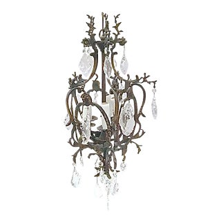 Antique 19th Century Iron & Crystal Chandelier