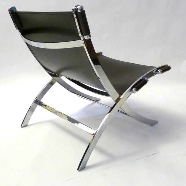 Leather and Chrome Sling Chair Paul Tuttle - Image 5 of 6