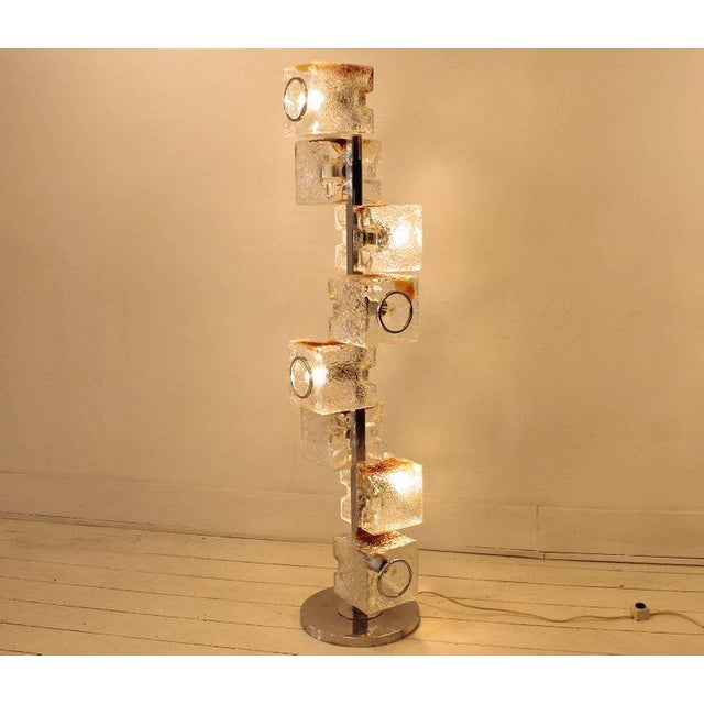 Italian 1960s VeArt Murano Glass Floor Lamps - a Pair For Sale - Image 3 of 9