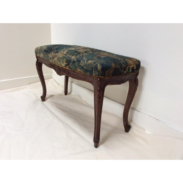 18th C Tapestry French Walnut Bench For Sale - Image 4 of 6